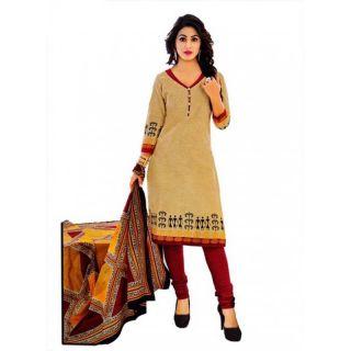 Shree Ganesh Pranjul Cotton Dark Chiku Beige Plain Unstitched Churidar Suit