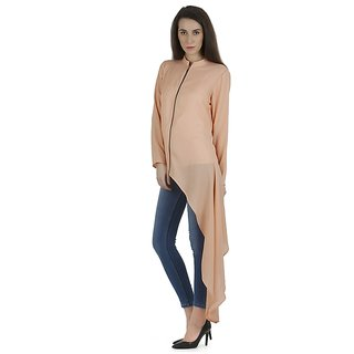 Nude moss crepe asymmetric tunic with front placket metallic zipper