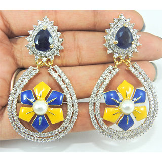 Pearl  Sapphire (Created) Multi-color stones Brass Earrings Jewelry A4