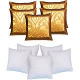 Aplied Border Cushion With Fillers Brown & Gold (10 Pcs Set)