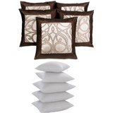 Aplied Border Cushion With Fillers Brown & Beige (10 Pcs Set)