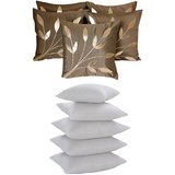 Leaves Patch  Cushion With Fillers Brown (10 Pcs Set)
