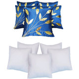 Leaves Patch  Cushion With Fillers Blue (10 Pcs Set)