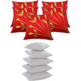 Leaves Patch  Cushion With Fillers Red (10 Pcs Set)