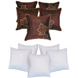 Leaf Embroidery Cushion With Fillers Brown (10 Pcs Set)