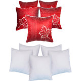 Leaf Embroidery Cushion With Fillers Red (10 Pcs Set)