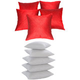 Quilting Cushion With Fillers Red (10 Pcs Set)