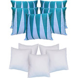 Zig Zag Patch Cushion With Fillers Blue & Sky Blue (10 Pcs Set)