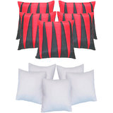 Zig Zag Patch Cushion With Fillers Black & Red (10 Pcs Set)