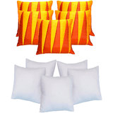 Zig Zag Patch Cushion With Fillers Rust & Dark Yellow (10 Pcs Set)