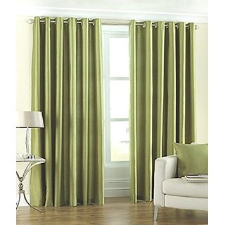 P Home Decor Polyester Long Door Curtains (Set of 2) 9 Feet x 4 Feet, Green