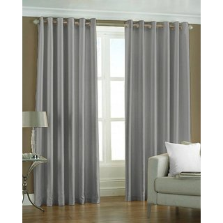 P Home Decor Polyester Window Curtains (Set of 2) 5 Feet x 4 Feet, Grey