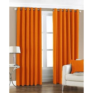 P Home Decor Polyester Long Door Curtains (Set of 2) 9 Feet x 4 Feet, Orange
