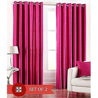 P Home Decor Polyester Door Curtains (Set of 2) 7 Feet x 4 Feet, Pink
