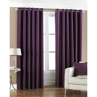 P Home Decor Polyester Long Door Curtains (Set of 2) 9 Feet x 4 Feet, Purple