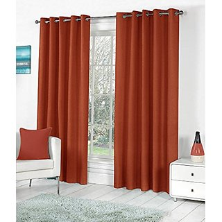 P Home Decor Polyester Door Curtains (Set of 2) 7 Feet x 4 Feet, Rust