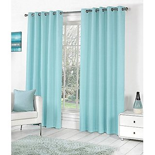 P Home Decor Polyester Long Door Curtains (Set of 2) 9 Feet x 4 Feet, Sky Blue