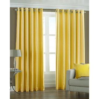 P Home Decor Polyester Door Curtains (Set of 2) 7 Feet x 4 Feet, Yellow