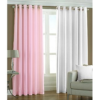 P Home Decor Polyester Door Curtains (Set of 2) 7 Feet x 4 Feet, 1 Baby Pink 1 White