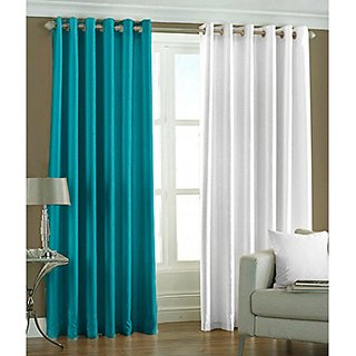 P Home Decor Polyester Long Door Curtains (Set of 2) 9 Feet x 4 Feet, 1 Aqua 1 White
