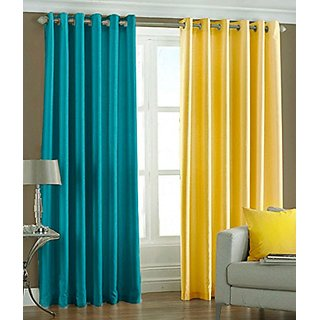 P Home Decor Polyester Long Door Curtains (Set of 2) 9 Feet x 4 Feet, 1 Aqua 1 Yellow