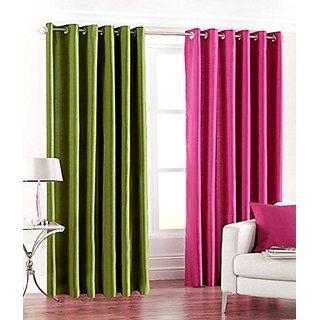 P Home Decor Polyester Door Curtains (Set of 2) 7 Feet x 4 Feet, 1 Green  1 Pink