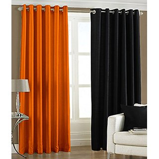 P Home Decor Polyester Long Door Curtains (Set of 2) 9 Feet x 4 Feet, 1 Orange 1 Black