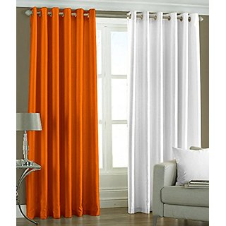 P Home Decor Polyester Door Curtains (Set of 2) 7 Feet x 4 Feet, 1 Orange 1 White