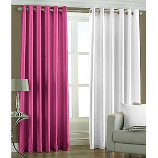 P Home Decor Polyester Door Curtains (Set of 2) 7 Feet x 4 Feet, 1 Pink 1 White