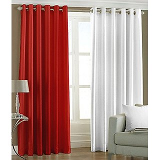 P Home Decor Polyester Door Curtains (Set of 2) 7 Feet x 4 Feet, 1 Red 1 White