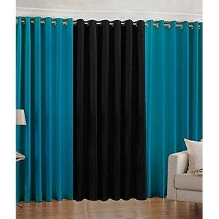 P Home Decor Polyester Door Curtains (Set of 3) 7 Feet x 4 Feet, 2 Aqua 1 Black