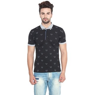 Fashcom Mens Black Leaf Half Sleeves Polo T-Shirt