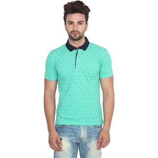 Fashcom Mens Green Star Half Sleeves Polo T-Shirt