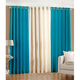 P Home Decor Polyester Window Curtains (Set of 3) 5 Feet x 4 Feet, 2 Aqua 1 Cream
