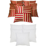 Cross Patti Cushion With Fillers Red & Beige (10 Pcs Set)