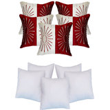 Star Embroidery Cushion With Fillers Ivory & Red (10 Pcs Set)