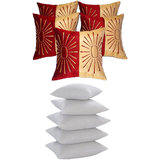 Star Embroidery Cushion With Fillers Beige & Red (10 Pcs Set)