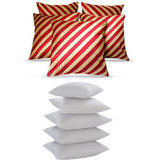 Stripy Cushion Cover With Fillers Red & Beige (10 Pcs Set)