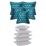 Dot Jackard Cushion With Fillers Blue (10 Pcs Set)