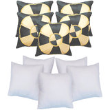 Footbal Design Cushion With Fillers Black (10 Pcs Set)