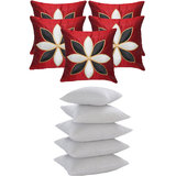 Lily Flower Patch Cushion With Fillers Red (10 Pcs Set)