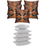 Lily Flower Patch Cushion With Fillers Brown (10 Pcs Set)