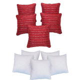 Jute Dori Cushion With Fillers Red (10 Pcs Set)