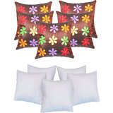 Felt Flower Patch Cushion With Fillers Brown (10 Pcs Set)