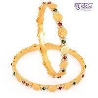 Sukkhi Gold Plated Lord Lakshmi Multi Color Stone Bangles