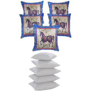 Digital Horse Print Cushion With Fillers Blue (10 Pcs Set)