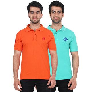 Fashcom Mens Orange and Turquoise Polo T-shirts Combo