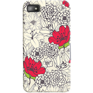 Oyehoye Floral Pattern Style Printed Designer Back Cover For Blackberry Z1O Mobile Phone - Matte Finish Hard Plastic Slim Case