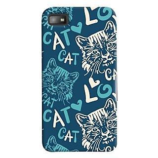 Oyehoye Cat Love Pattern Style Printed Designer Back Cover For Blackberry Z1O Mobile Phone - Matte Finish Hard Plastic Slim Case