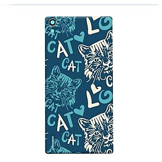 Oyehoye Cat Love Pattern Style Printed Designer Back Cover For Huawei Ascend P7 / Dual Sim Mobile Phone - Matte Finish Hard Plastic Slim Case